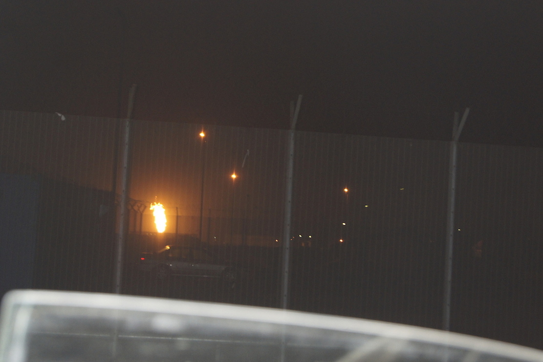 ExxonMobil flaring gas within its yard in Ibeno