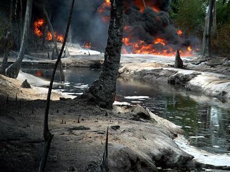 oil spill site in Ibeno village
