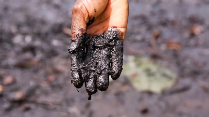Pastor Christian Lekoya Kpandei's hand covered in oily mud, Bodo Creek, Nigeria, (PHOTO: Amnesty Internationla