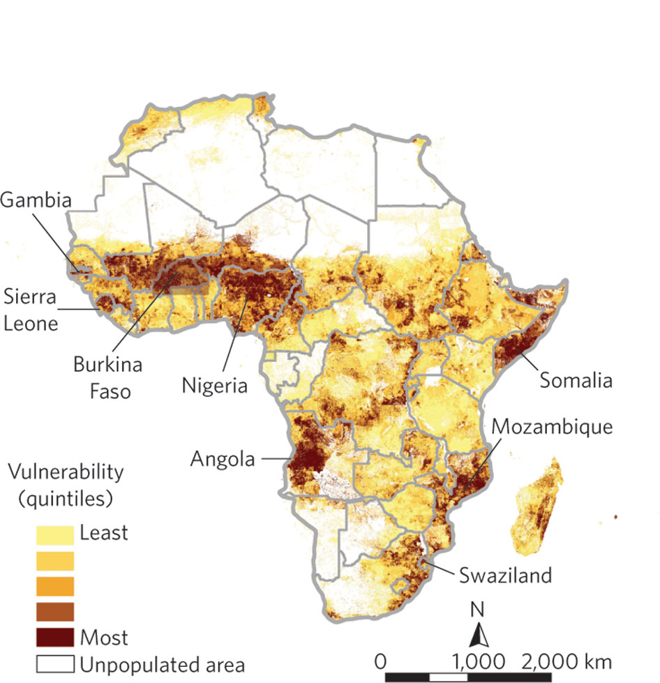 A composite map of climate-related hazard exposure, population density, household and community resilience, and governance and violence. Map author: Kaiba White (2011). Data sources: World Bank, World Health Organization,