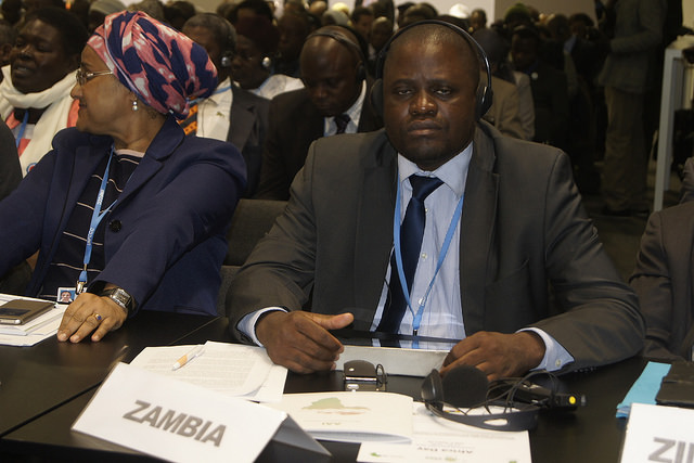 Richard Lungu, Zambia's UNFCCC Focal Point at the AMCEN meeting in Paris (PHOTO: ClimateReporters/Atayi Babs)