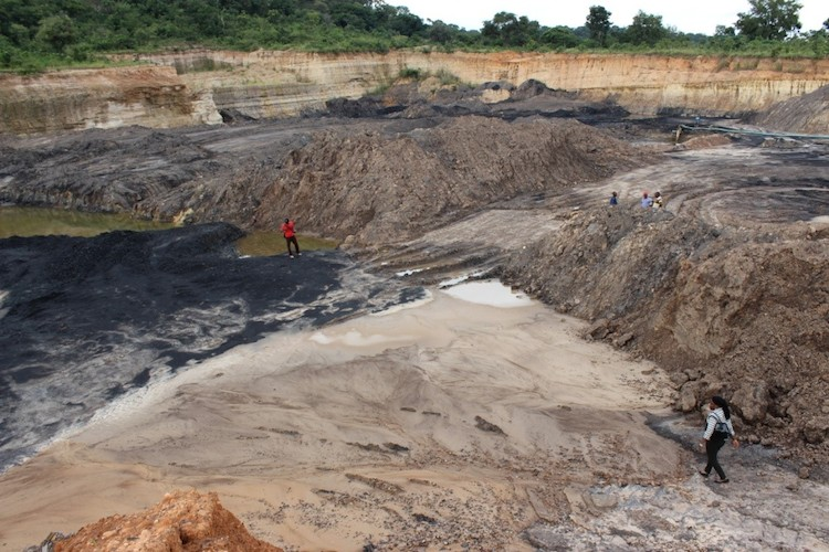 Contaminated water inside Okobo coal mine pit (PHOTO: hbs Nigeria)
