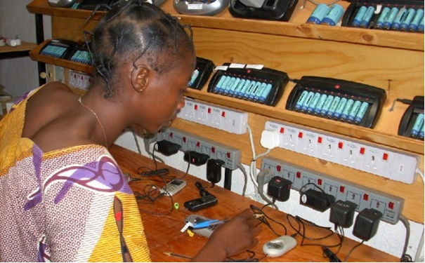 Solar powered Telephone recharging      Center in Limbe-Cameroon (PHOTO: ClimateReporters/Elias Ntungwe)