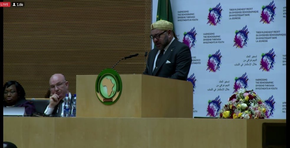 King Mohammed VI of Morocco addresses the African Union Assembly of Heads of States