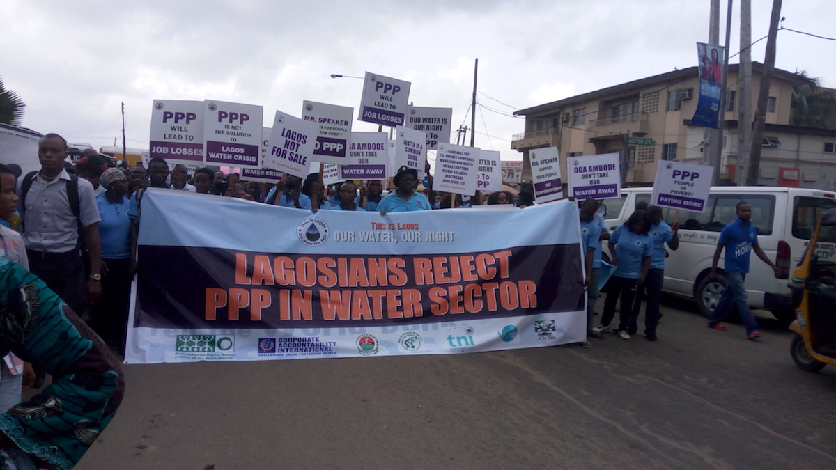 Lagos residents protesting against Public Private Partnership scheme in the water sector (PHOTO:ClimateReporters/Ugonma Cokey)