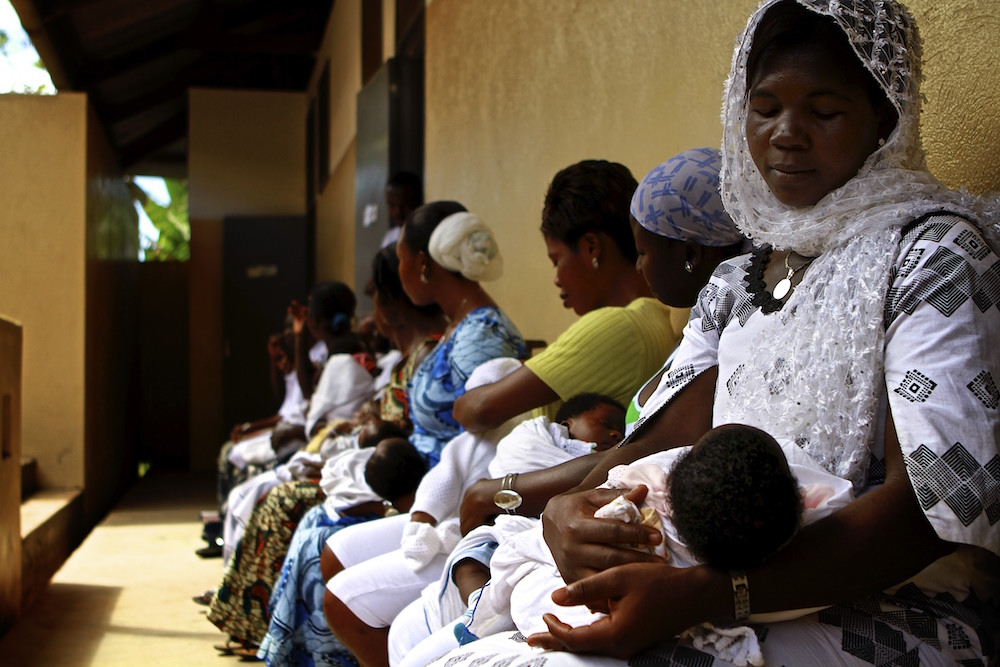 Nigerian women waiting at a maternity clinic