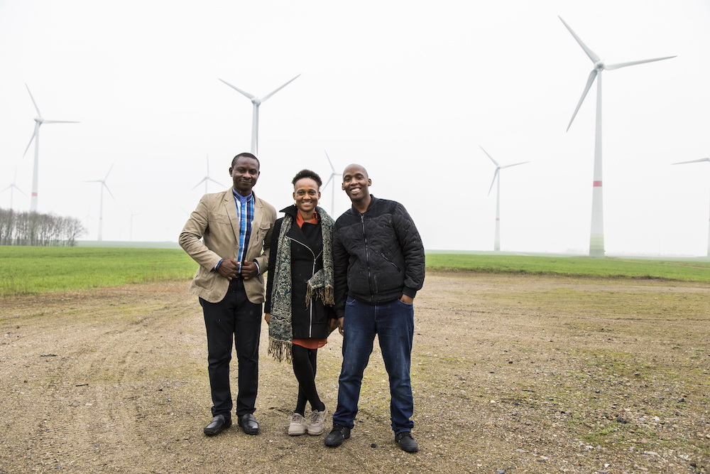 From L-R: Atayi Babs, Ayoola Kassim and Lebo Tshangela during the visit to the wind farm in Feldheim, Germany (PHOTO: dena/Fabian Starosta)