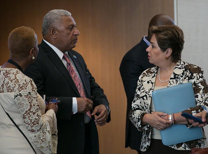 Prime Minister Frank Bainimarama, and COP 23 President, Fiji, and UNFCCC Executive Secretary Patricia Espinosa at Bonn climate conference 7th May 2018 (PHOTO: ENB/IISD)