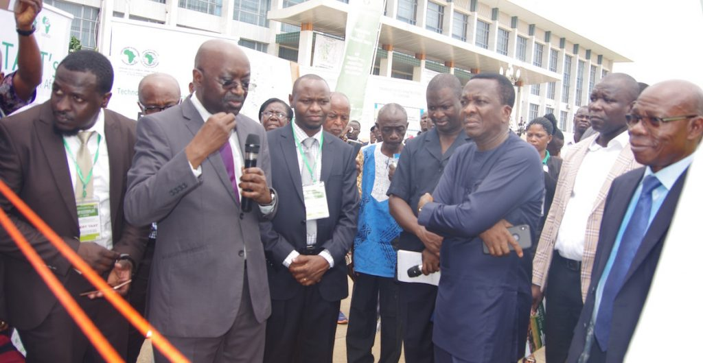 Togolese Agric Minister with Dr Mpoko Bokanga Head TAAT Clearinghouse at the forum (PHOTO: TAAT)